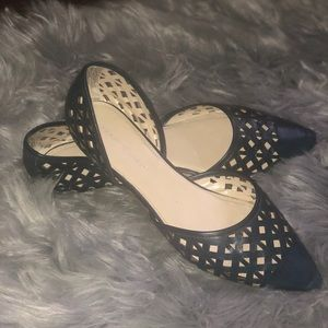 Navy Perforated Flats!!🔥